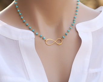 Beaded turquoise Infinity necklace,real gemstone string necklace,gold infinity figure eight necklace,Mother Jewelry,custom beaded gemstone