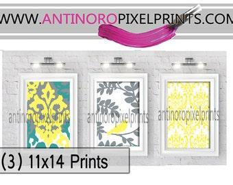 Yellow Green Grey Digital Ikat Wall Art (3) 11x14 prints (Unframed)