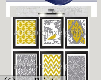 Mustard Yellow Vintage / Modern inspired Art Prints Collection -Set of (6) - 5x7 Prints - Featured in Mustard Yellow / Grey  (UNFRAMED)