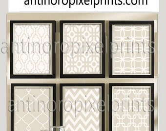 Taupe Ivory Prints Vintage / Modern Inspired  Art Prints Collection -Set of (6) - 12x16 Prints - (UNFRAMED)