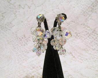 Clip earrings Aurora Borealis dangle clusters 1960s retro Mad Men era wedding prom or party