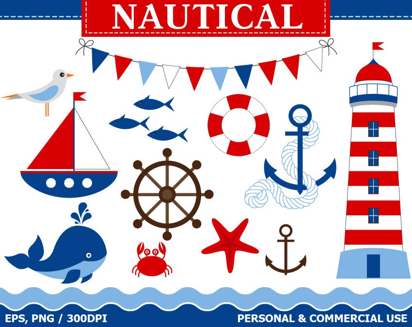 70% OFF SALE Digital Nautical Clip Art Boat, Lighthouse, Whale, Anchor, Sea, Fish, Buoy Clip Art ...