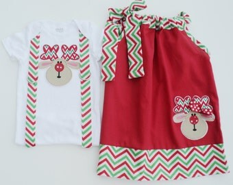 Custom Boutique Christmas Reindeer Pillow Case Dress Brother Sister Set Sizes 0-6 mo, 6-12mo, 12-18mo, 18-24mo, 2t, 3t, 4t, 5/6, 7/8