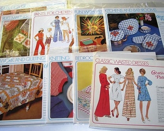 Vintage LOT Creative Patterns Books, 9 sewing pattern books, craft pattern books, clothing, home decor