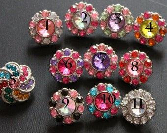 Rhinestone Buttons- Pack Of 5 Plastic Acrylic Rhinestone Buttons-21mm - Pick your own 10 Colors