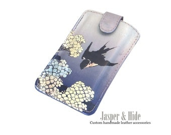 Leather Iphone 7, SE Cover, Lavender Purple Phone case with Bird, Samsung Gallaxy S6 S7, Womens Phone Sleeve with a Katsushika Hokusai print