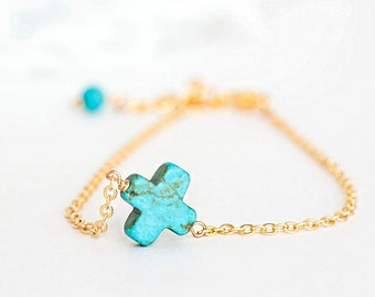 Turquoise Sideways Cross Bracelet, Square Cross Charm, Gold / Silver Chain. lj