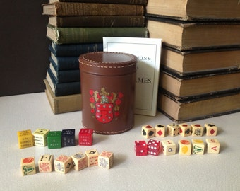 Pub Dice Games Leather Cup Shaker with Original Instructions