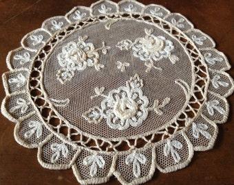 Tulle Lace Doilies Exquisite Applique Set of 8 Needle Lace Doilies