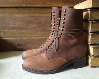 Brown Leather Granny Boots, Lace Up Ankle Boots, Size 7 US