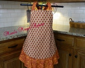 Womens Full Size Apron / Retro Apron / Handmade Apron / Full Designer Kitchen Apron / Turkey Apron / Thanksgiving Apron