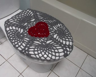 Crochet Toilet Seat Cover  true grey burgundy or dark red TSC11D seat cozy Etsy