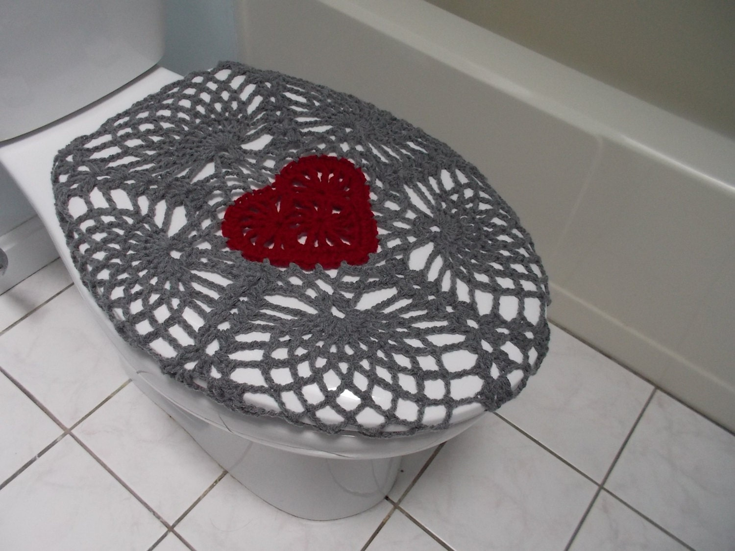 Crochet Toilet Seat Cover True Grey Burgundy Or Dark Red
