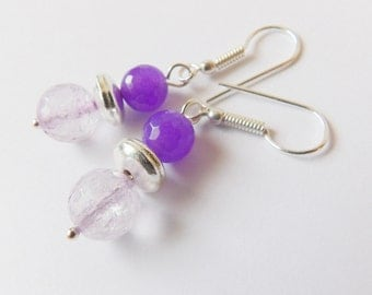Beautiful dangle silver plated lawender amethyst and purple alexendrite earrings