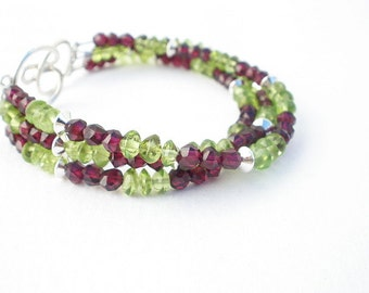 Natural Gemstone Peridot Smooth Rondelles -  Natural Gemstone Red Garnet Faceted Rondelles - 925 Sterling Silver Three Strand Bracelet