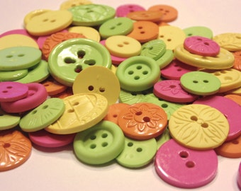 35 piece tropical punch acrylic button mix, 11-20 mm (B11)