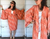 Kimono Bed Jacket Cozy Warm Layering Angel Sleeves Orange with White Flowers One size fits Most
