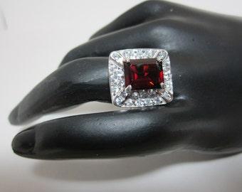 Tanga Garnet and White Zircon Ring