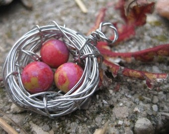 Three Bird Egg Nest Pendant with Reds, Pinks, and Yellows; Bird Nest Necklace