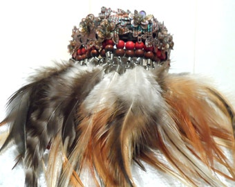 Couture collar. Sequin wrap with threaded beads and multi color feather drop surround. OOAK.