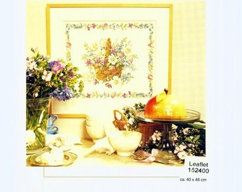 Permin of Copenhagen Cross Stitch Chart, Flower Basket, Gorgeous Floral Design