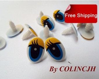 Toy Eyes Cartoon Eyes Safety Eyes Animal Eyes Craft Eyes Plastic Eyes(10 pair,design 2)