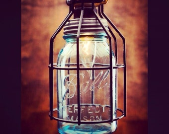 PAIR OF Mason Jar Light, Single Drop Chandelier, blue jar light