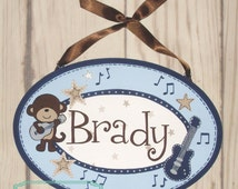 "Custom Artisan hand painted name sign name plate plaque ~ Monkey Rockstar theme, blue, 6x10"" guitar theme"