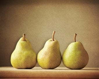 Three Pears - Fruit Print, Kitchen Art - Tan Green pears - Still Life Photo