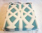 """2 Turquoise Trellis chair cushions 14"""" x 14"""" x 1 1/4"""" (3cm)"""