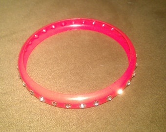Vintage Blue and Pink Solid Bracelets with Rhinestone Accents
