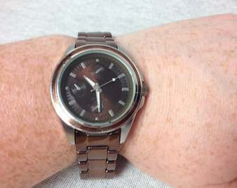 Vintage Brown Enameled Wrist Watch