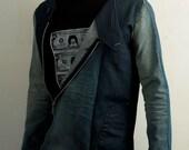Distressed patchwork denim jean jacket for men