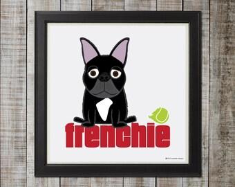 French Bulldog, Black Illustration - 8x8