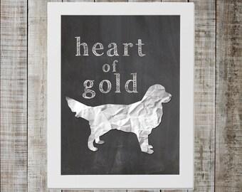 Golden Retriever 'heart of gold' Chalkboard Print