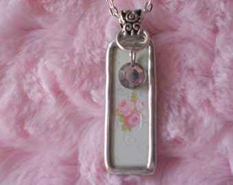 Glass Covered Art Pendant With Vintage Button Charm~
