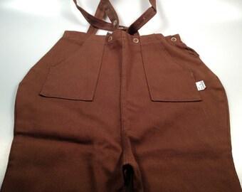 1950s Vintage Childs JODHPURS With SUSPENDERS  Brown Pants Riding Pants DEADSTOCK Size 4 Riding Pants