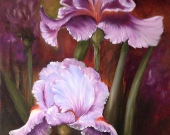 Sale - Purple Irises iris Oil Painting box Canvas