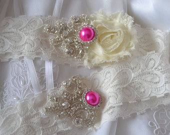 Wedding Garter - Bridal Garter -Ivory Couture Pearl and Crystal Rhinestone Garter,  Garter Set