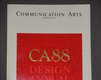 ON SALE Communication Arts Magazine -  CA 88 Design Annual - November 1988 - Massimo Vignelli - Seymour Chwast - Vintage Magazine - Ca Back