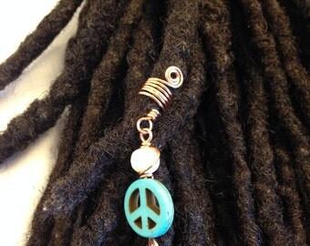 Turquoise Peace Sign Dreadlock Braid Twist Hair Bead Dread Locs Jewelry
