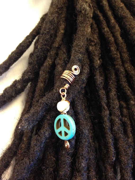 Turquoise Peace Sign Dreadlock Braid Twist Hair Bead Dread Locs Jewelry Natural Hair Gift
