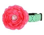 Pink Aqua Rhinestone Dog Flower Collar, Dog Collar Flower Set: Seagrove Lattice with Rani