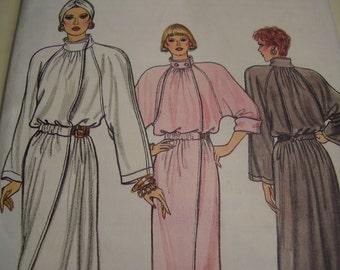 Vintage 1980's Vogue 9709 Dress Sewing Pattern, Size 8-10-12, Bust 31 1/2, 32 1/2, 34