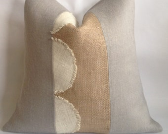 Light Gray Burlap with Scalloped Cream Burlap and Natural Burlap Stripe Pillow Cover