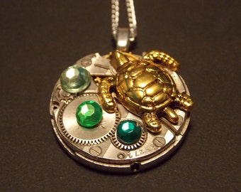 Sea Turtle Watch Movement Necklace