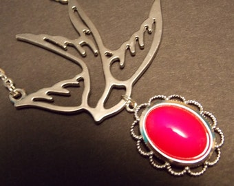 Pink and Silver Swallow Drop Necklace