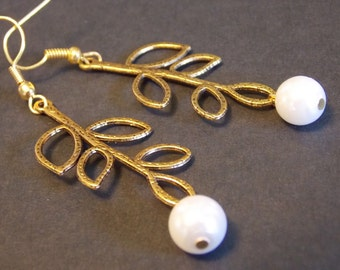 Gold Branch and Pearl Earrings