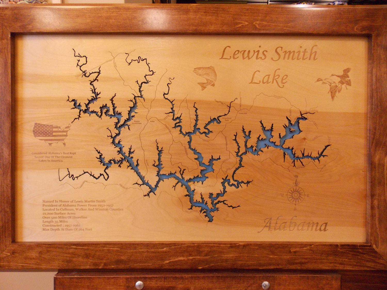 Lewis Smith Lake Alabama Wooden Laser Engraved Lake Map Wall