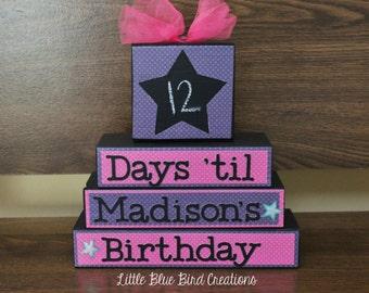 Chalkboard Birthday countdown wood blocks - shelf sitter - happy birthday
